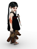 A gothic blood covered small girl with knife.