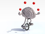 brain with arms and legs juggle rides a unicycle