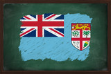 Fiji flag painted with chalk on blackboard