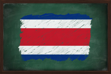 Costa Rica flag painted with chalk on blackboard