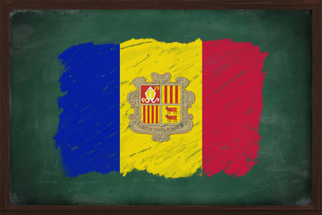 Andorra flag painted with chalk on blackboard