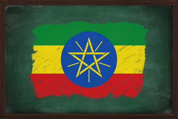 Ethiopia flag painted with chalk on blackboard