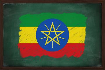 Ethiopia flag painted with chalk on blackboard