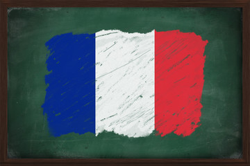 France flag painted with chalk on blackboard