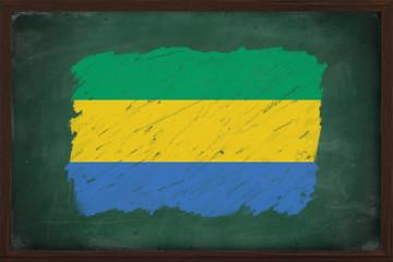 Gabon flag painted with chalk on blackboard