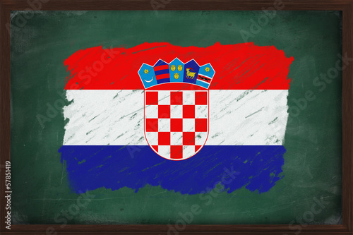 Croatia flag painted with chalk on blackboard