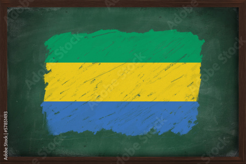 Gabon flag painted with chalk on blackboard