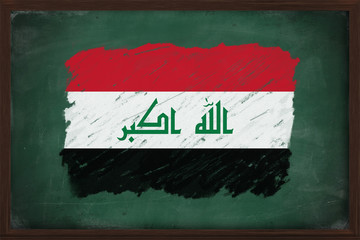 Iraq flag painted with chalk on blackboard