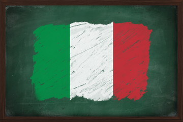 Italy flag painted with chalk on blackboard