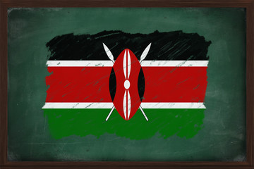 Kenya flag painted with chalk on blackboard
