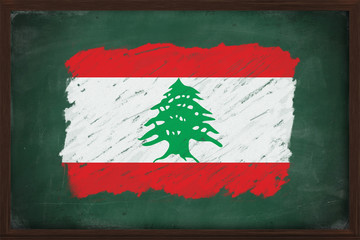 Lebanon flag painted with chalk on blackboard