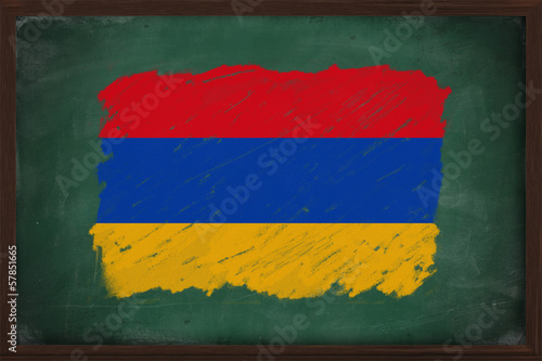 Armenia flag painted with chalk on blackboard