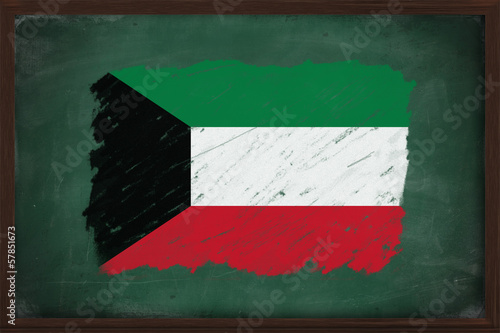 Kuwait flag painted with chalk on blackboard