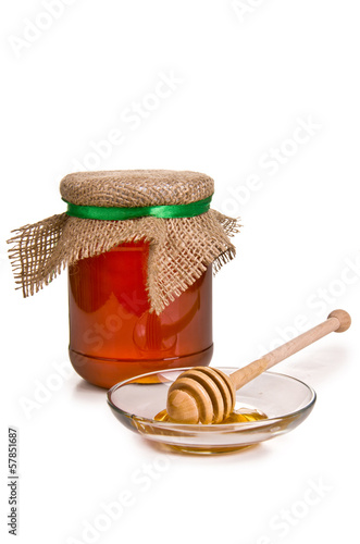Sweet honey in jar with drizzler