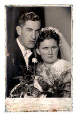 Newlyweds, bride and groom - circa 1940