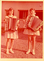 Girls with accordion - circa 1955