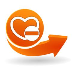 cœur moins sur bouton web orange