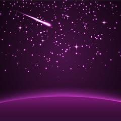 Hintergrund, Sterne, Sternschnuppe, Nachthimmel, Himmel, Violett
