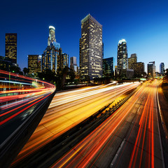 City of Los Angeles California at sunset with light trails