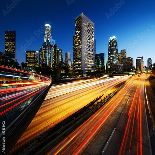 canvas print picture City of Los Angeles California at sunset with light trails