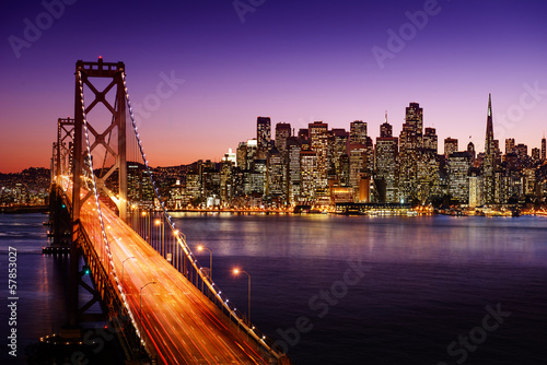 canvas print picture San Francisco skyline and Bay Bridge at sunset, California