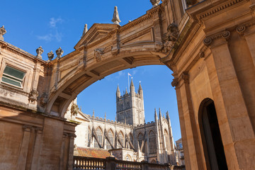 Bath Abbey framed by arch