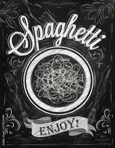 Poster lettering spaghetti enjoy! in retro style drawing chalk
