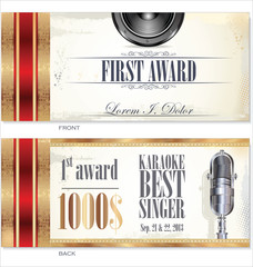 First award voucher or certificate karaoke template