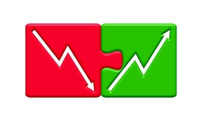 Puzzle Pfeil hoch & runter - Nach der Krise geht´s aufwärts