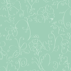 Mint seamless background with flowers