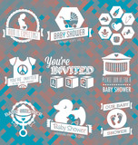 Vector Set: Baby Shower Invite Labels in Retro Style