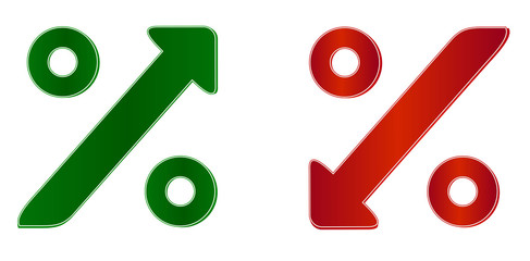 percentage symbol with up and down arrow