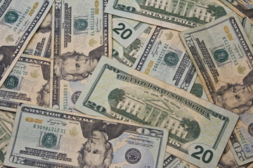A Pile of Twenty Dollar Bills for Abstract Background