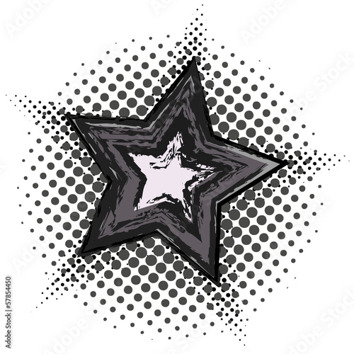 Grunge star with halftone pattern
