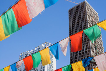 Prayer flags In modern city