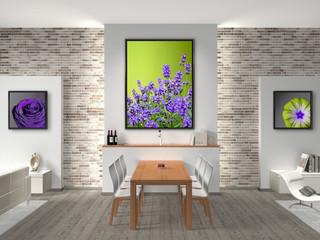 Wohn-/Esszimmer mit Bildern in Rahmen