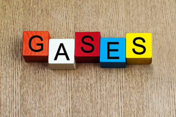 Gases - sign series for science, chemistry and education