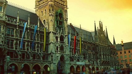 Munich Marienplatz,Munchen new town hall,time lapse