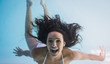 Smiling woman in swimming pool