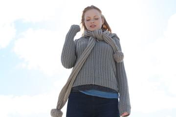 Blond woman wearing scarf