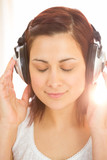 Peaceful woman listening to music
