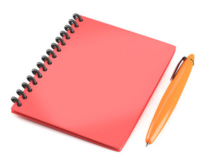 Red notepad with pen