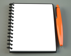 Blank notepad with orange pen