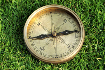 Compass on grass