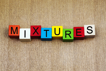 Mixtures - sign series for science, chemistry and education.