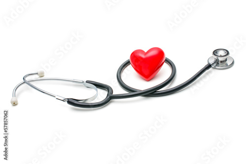 Heart with a stethoscope