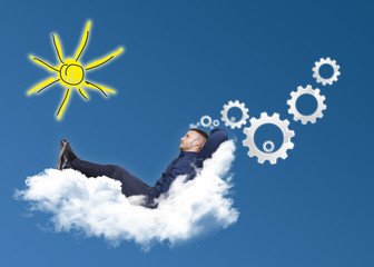 businessman on cloud