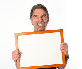 angry man with white signboard