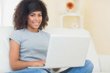 Pretty smiling brunette using laptop looking at camera