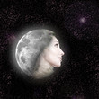 moon transfers in face of the beautiful woman in night sky...
